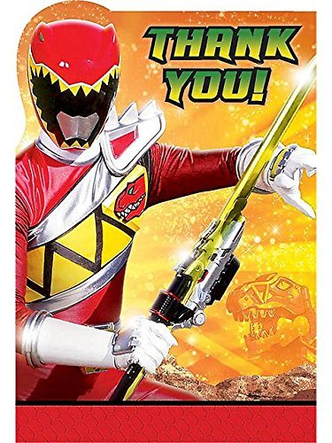Amscan Power Rangers Dino Charge Birthday Party Postcard Thank You Cards (8 Piece), -
