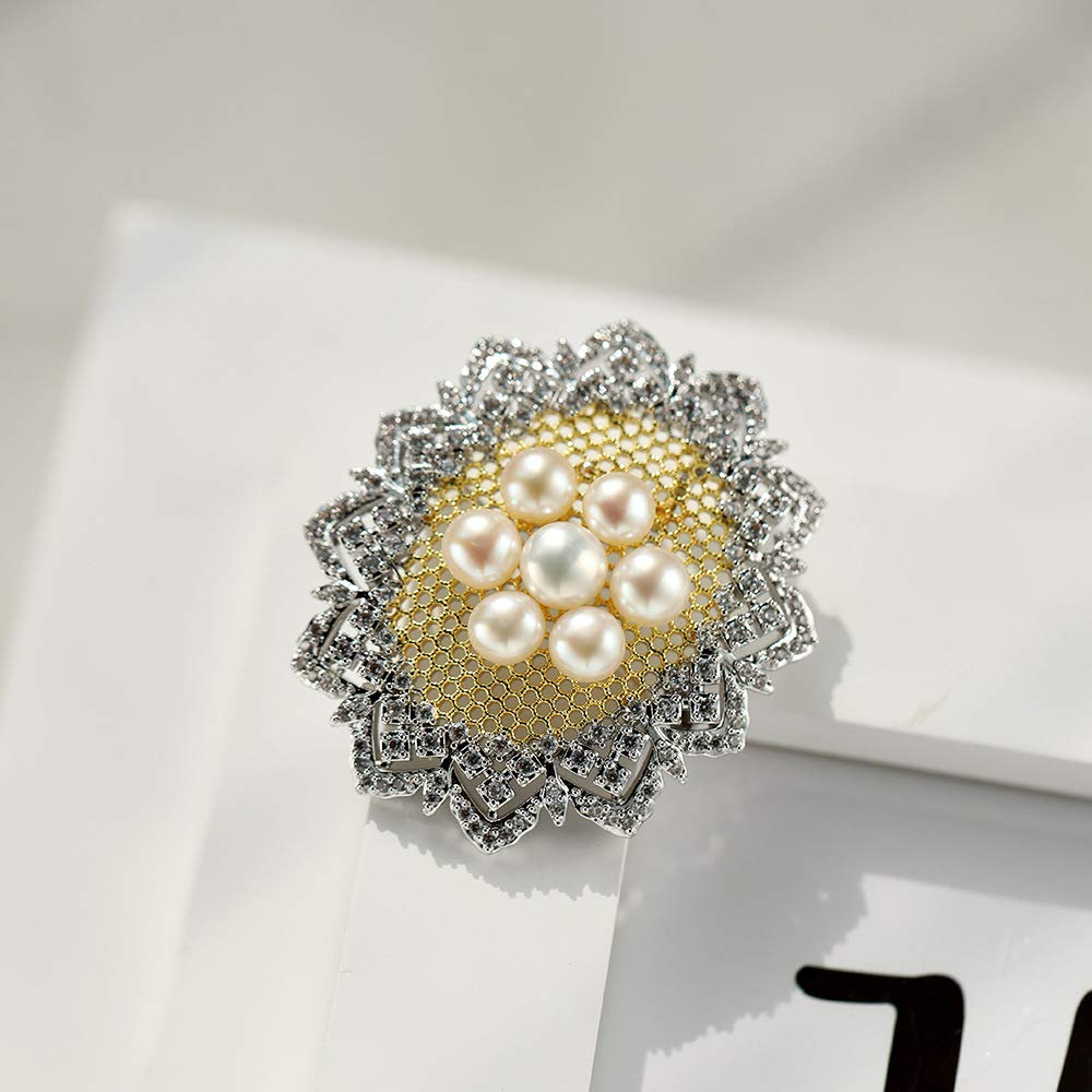 YYOGG Brooch European and American Fashion Natural Freshwater Pearl Brooch Brooch Atmosphere Elegant Hundred Matching Accessories