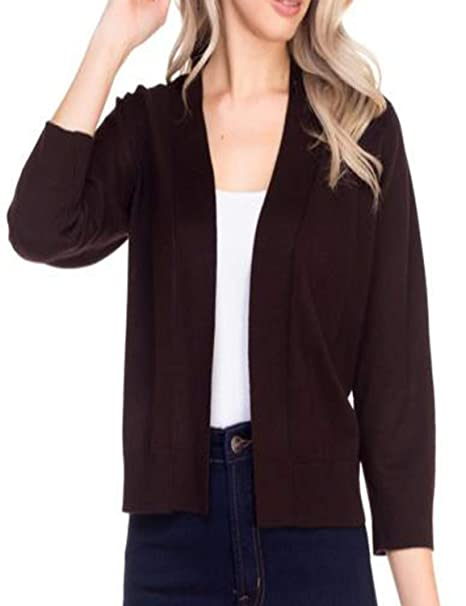72582ec85516 NANAVA Women s Solid Soft 3 4 Sleeve Open Front Cropped Cardigan at Amazon  Women s Clothing store