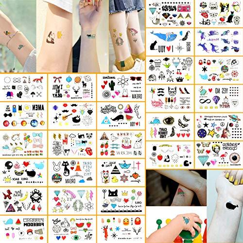Oottati 30 Sheets 300+ Design Small Cute Temporary