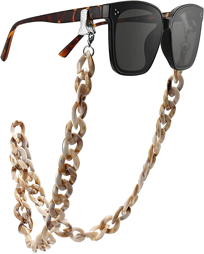 Eyeglass and Mask Chains for Women with Clips Acrylic Sunglasses Necklace Holder