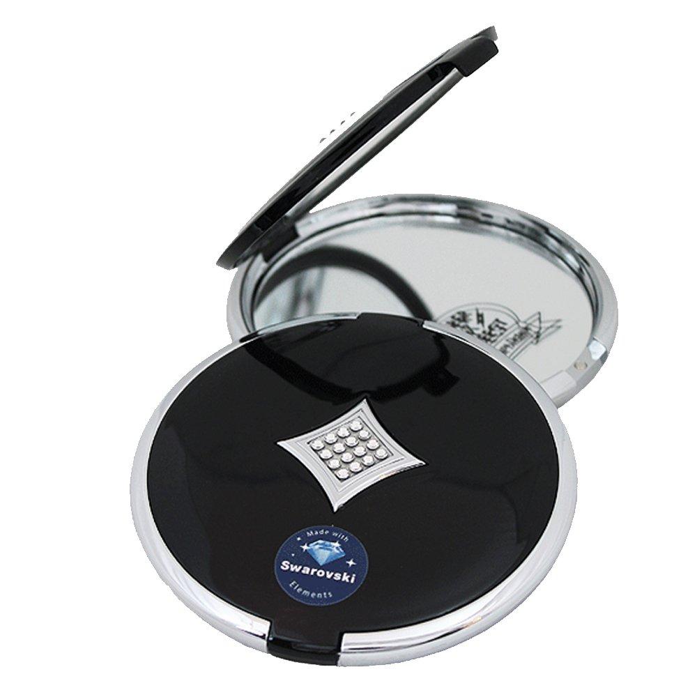Taschenspiegel doppelseitig schwarz/silber Swarovski Elements AGB