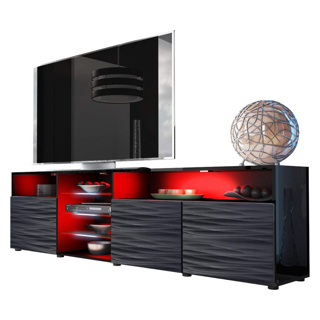 Meble Furniture & Rugs TV Stand Roma Matte Body High Gloss Doors Modern TV Stand LED (Black/WavyBlack) by Meble Furniture & Rugs