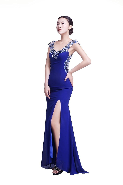 YiYaDawn Women's Mermaid Split Prom Dress Backless Evening Gown