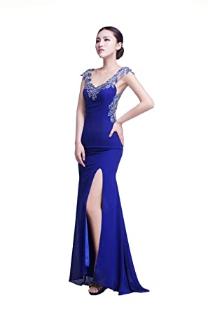 YiYaDawn Womens Mermaid Split Prom Dress Backless Evening Gown Size 20 UK Royal Blue