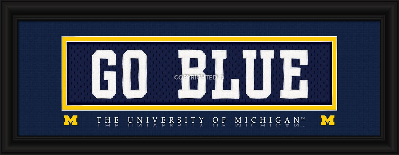 Michigan Wolverines Stitched Uniform Slogan Print - Go Blue Hall of Fame Memorabilia 848655009142