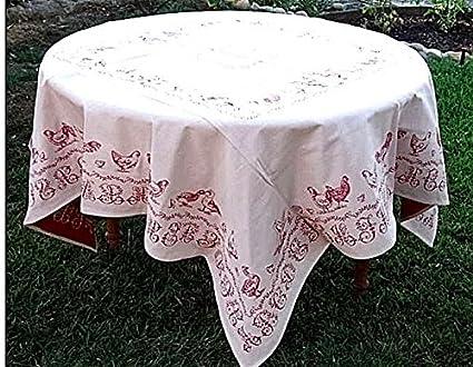 Exceptionnel La Maisonnette French Provence Matelassé Tablecloth, Le Coq, Rouge (Rooster  Red),