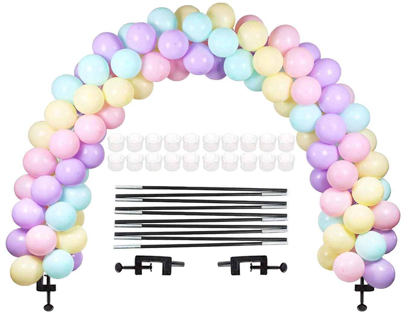 LANGXUN Black Balloon Arch Kit, Balloon Arch Semicircular Arch Kit 2 Adjustable Clips, 10 Fiber Optic Rods 20 Balloon Ring Sets for Different Table Sizes for Birthday Weddings and Graduation Parties