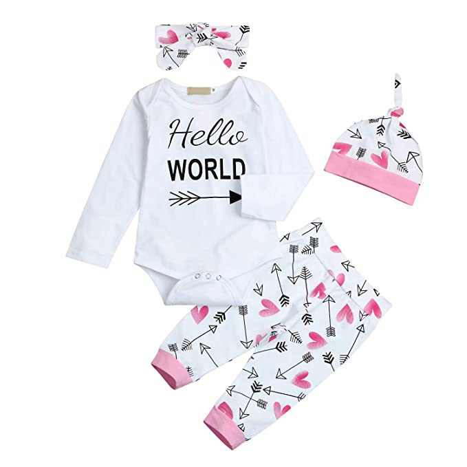 231635e0af4 Amazon.com  4Pcs Newborn Baby Girls Clothes Long Sleeve Letters Print Romper+Floral  Pants +Headband+Hat Outfit Set  Clothing