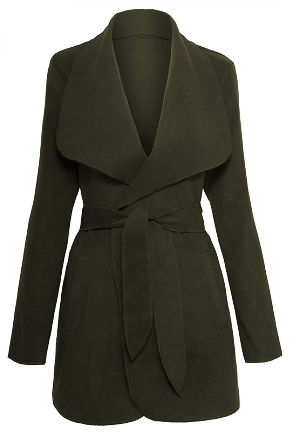 Calilogo Women's Shawl Collar Waterfall Belted Wrap Coat Jacket (Small, Olive)