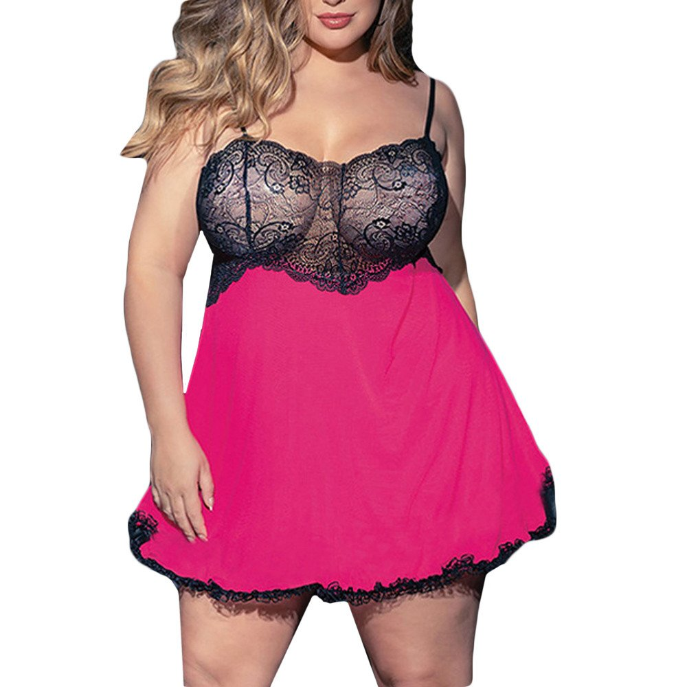 GADDRT Hot Pink 3XL-5XL Women Plus Size Bra Lace Lingerie Sexy Lingerie Short Skirt+G-String Sleepwear