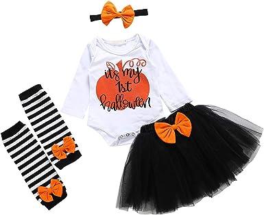 Halloween Thanksgiving Baby Girl Romper Tulle Skirt Headband Outfits Costume Set