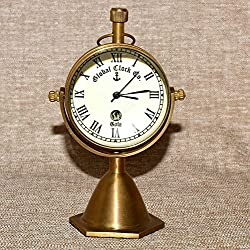 saif.nautical.store New Table Decor Brass Antique Watch Desktop Nautical Clock Vintage Maritime Clock