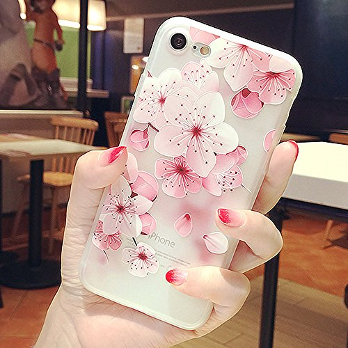 Beautiful Flower Pattern - iPhone 8 Cherry Blossom Case, iPhone 7 Soft Case,LuoMing 3D Emboss Beautiful Flower Pattern Slim fit Shock-Absorbing Soft Rubber Clear TPU Skin Cover Case for iPhone 7/ iPhone 8 (Cherry Blossom)
