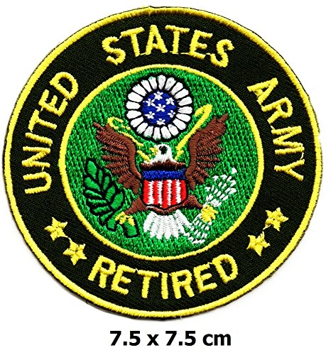 Us Army Retired Patch (United States Army Retired patch Iron on Logo Vest Jacket cap Hoodie Backpack Patch Iron On/sew on patch)