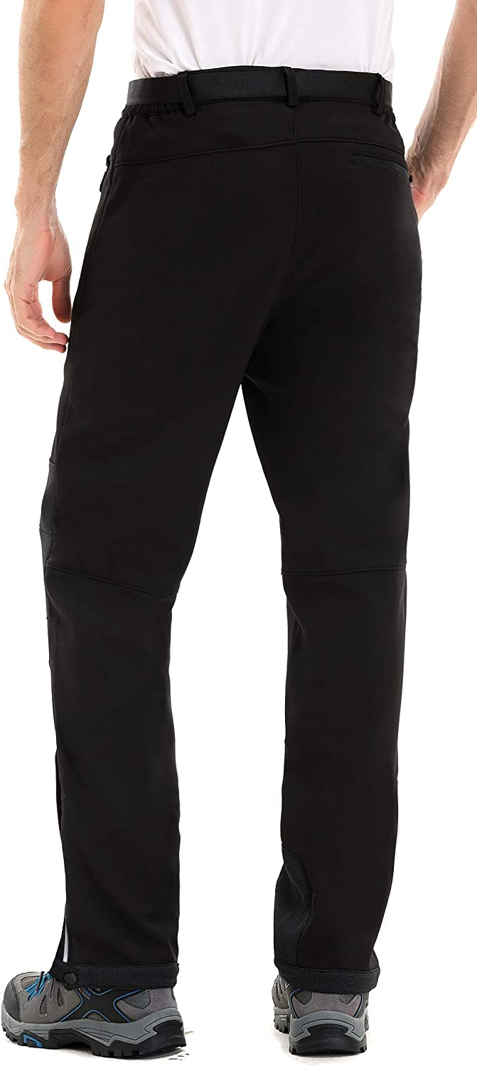 Clothin Mens Fleece-Lined Soft Shell Winter Pants Water and Wind-Resistant Ski Snow Insulated