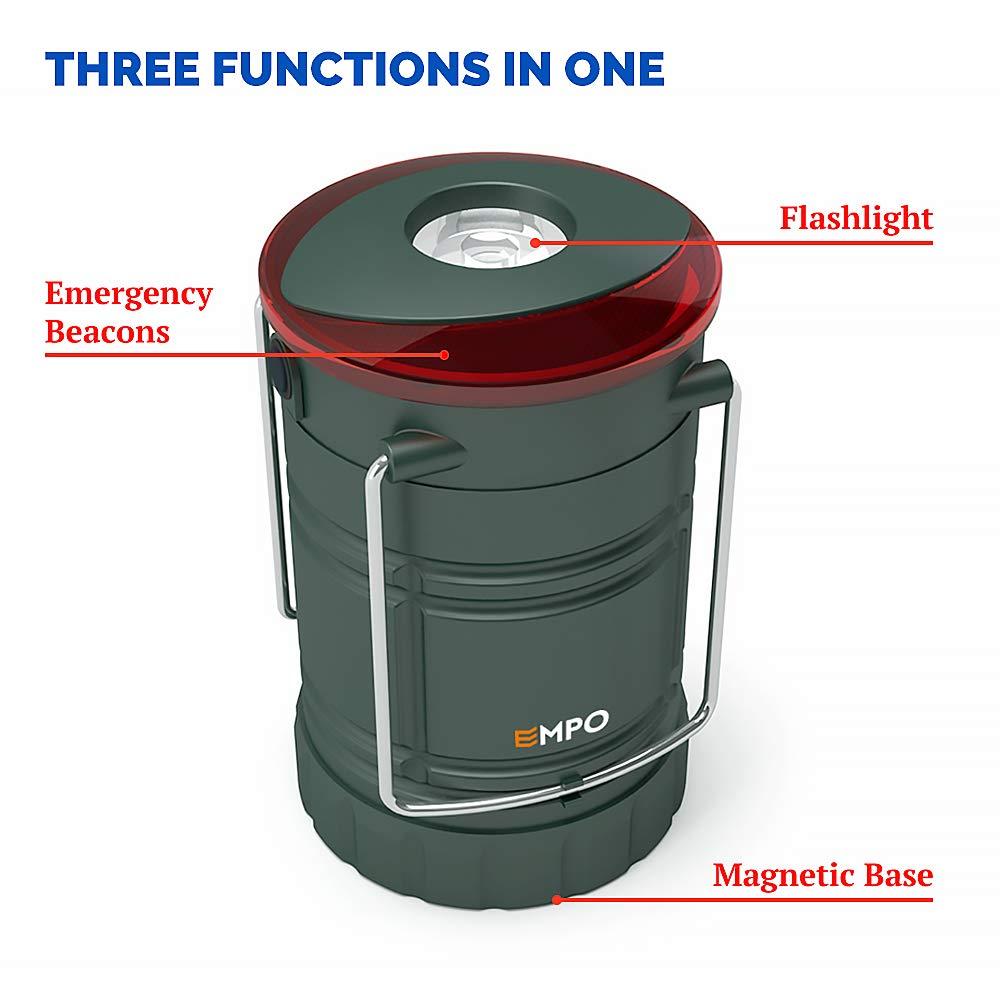 Magnetische Laterne EMPO LED Camping Laterne f/ür den Au/ßenbereich und Notf/älle Ultra hell langlebig Notfall-Leuchte und Blinklicht in Einem und komplett zusammenklappbar Olivegr/ün 2St/ück