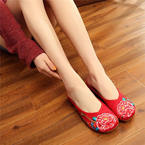 Avacostume Broderie Lotus Femme Bout Rond Oxford Loafer Pantoufle Rouge