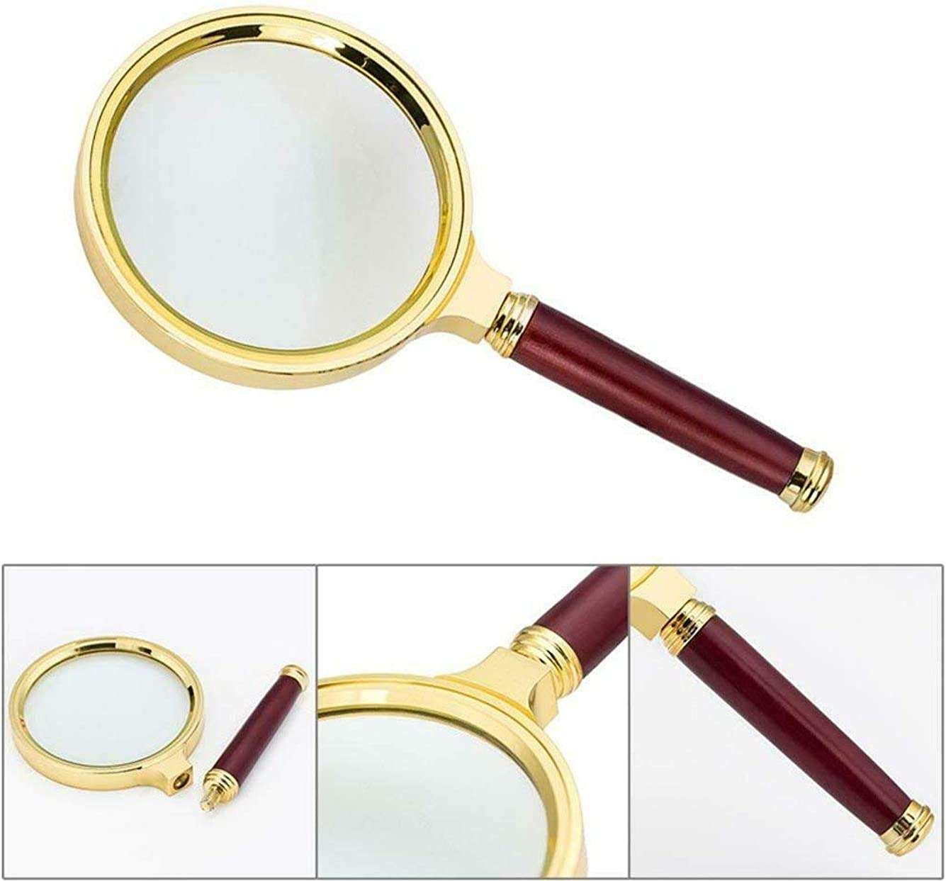 Eland 6 X Magnifier Magnifying Glass Loupe w// 80mm Wood Handle for Reading