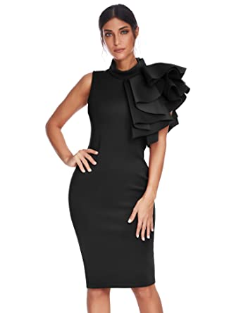 e18eddb237c Meilun Womens Sexy Sleeveless Ruffles Bodycon Midi Celebrity Party Dress  Vestidos Club Dresses (Black,