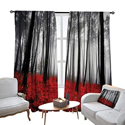 DESPKON Forest Curtains Mystical Fantasy Woodland Under Heavy Fog Tall  Trees Bushes Contrast soundproof Curtains,Bedroom Window Drapes 2 Panel  Set,72 ...