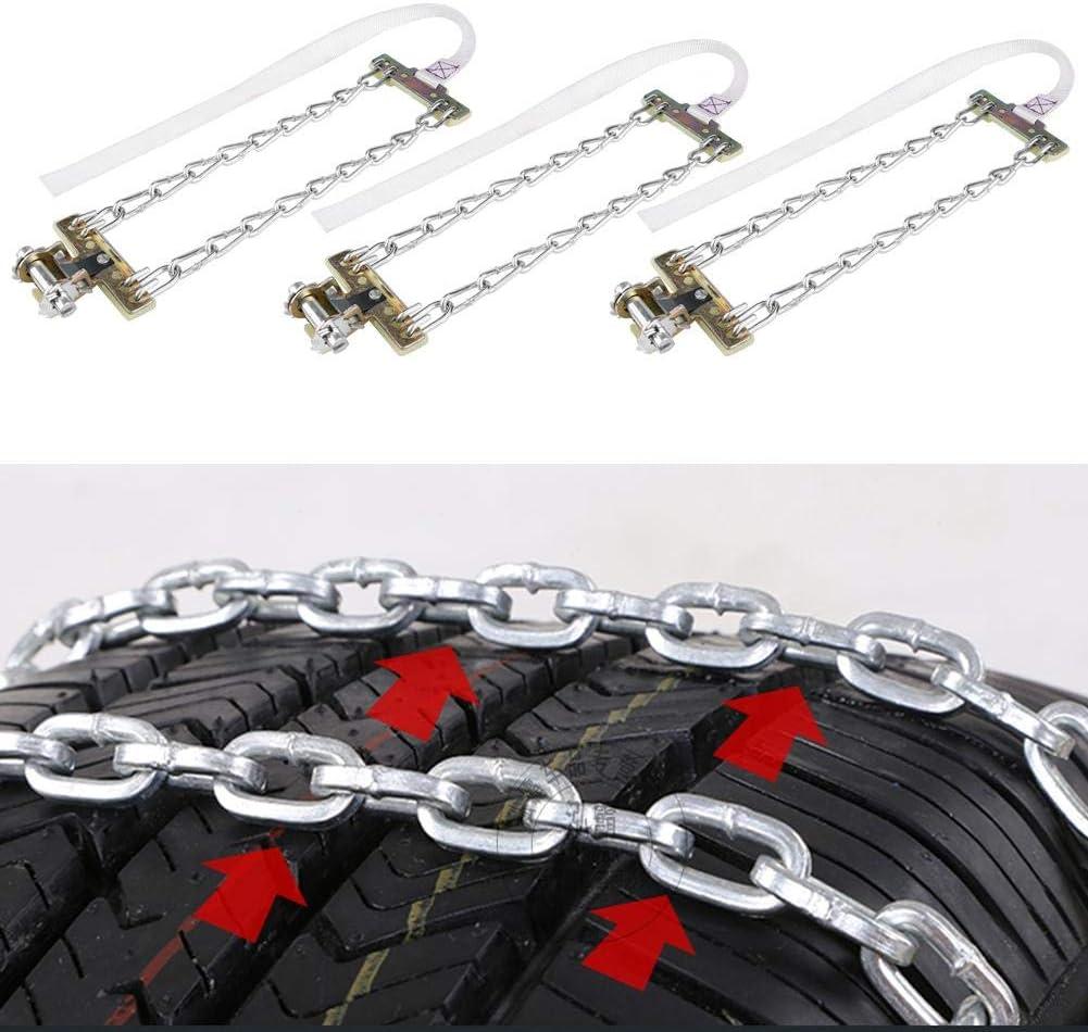 Medium 3pcs Tire Anti-skid Steel Chain,Snow Mud Car Security Tyre Clip-on Chain for Car Car Truck SUV