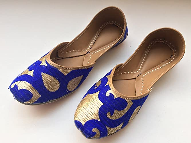 Amazon.com  Blue Bridal Women Shoes with Matte Gold Sequins Wedding Shoes Designer  Royal Blue Women Shoes Ballet Shoes  Handmade cc8d29889b
