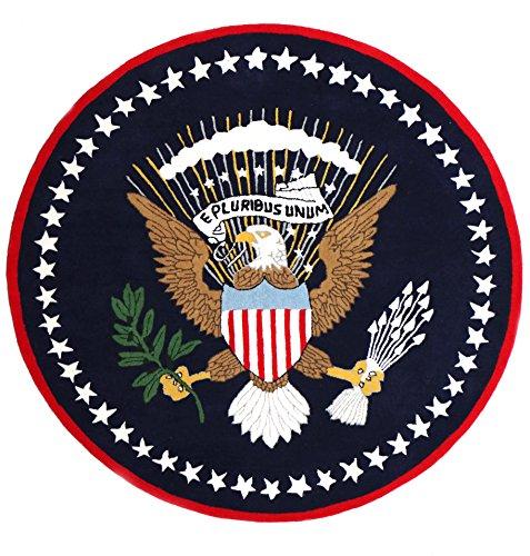(US Logo Flag 6'x6' Eagle Pluribus President Handmade Tufted 100% Woolen Rugs & Carpet)