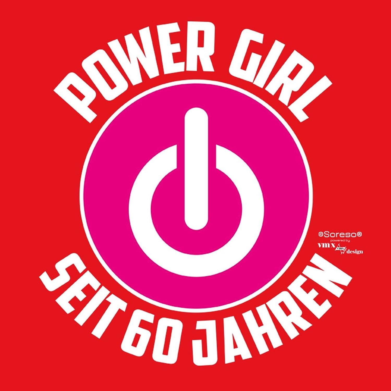 Geschenk für Frauen zum 60. Geburtstag Oberteil Damen T-Shirt als Geschenkidee  Power Girl seit 60 Jahren für Powergirl Motiv: Power ZeichenFarbe: rot: ...