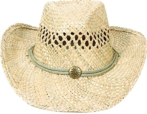 AMC Western Classic Cowboy Straw Hat Studded Leather Bull Band, ST-007