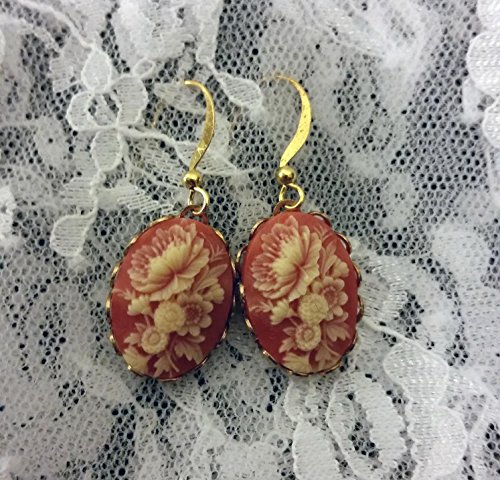 Floral Cameo Earrings (Carnelian and Cream Floral Cameo Earrings)