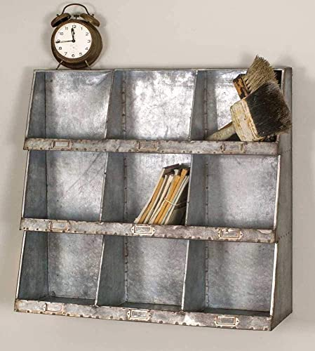 Industral Style Vintage Farmhouse Country Rustic Galvanized Steel Wall Cubbies Shelves Bins