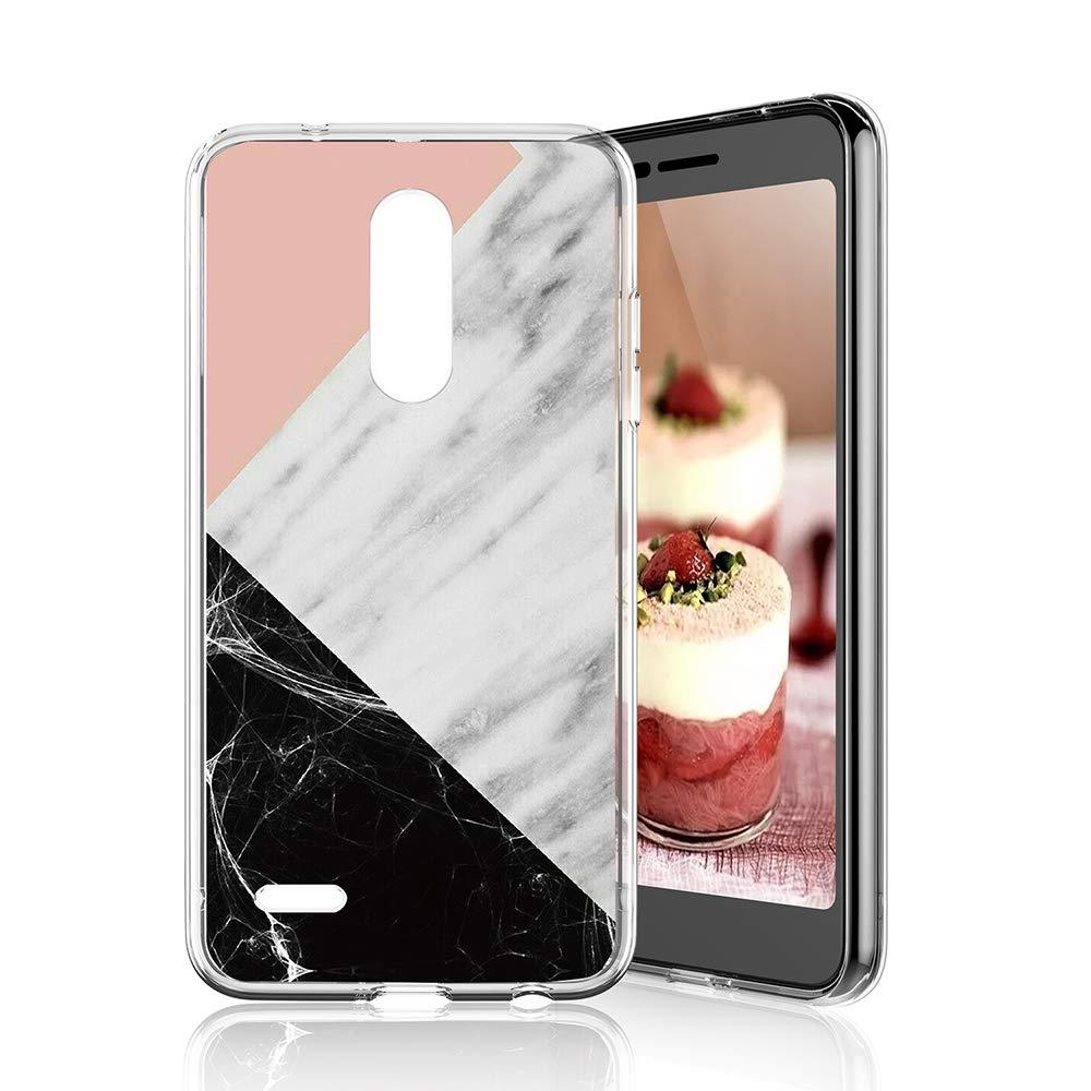 TJS for LG K10 2018/LG K30/LG Premier Pro LTE/LG Harmony 2/LG Phoenix Plus Phone Case, Slim TPU Matte Color Marble Transparent Clear Soft Skin Protector Back Cover (Pink White Black)