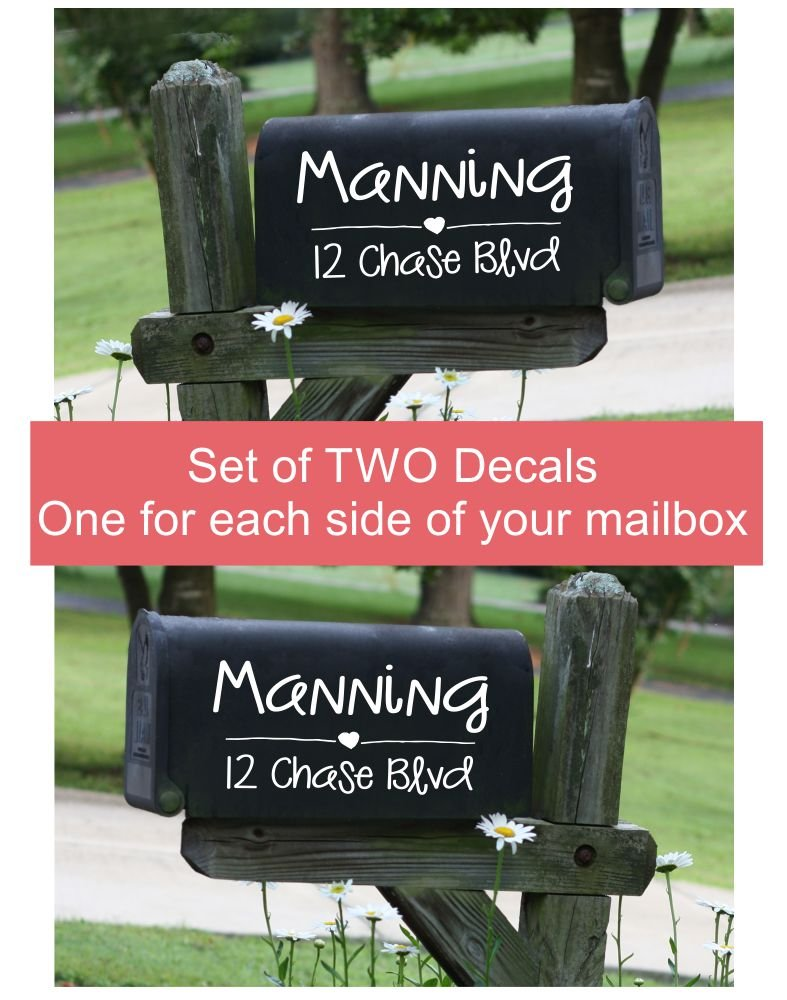 Handwritten Mailbox Decals Lettering Personalized Set of 2 Address Numbers and Name Jumbo Size by Wall Decor Plus More