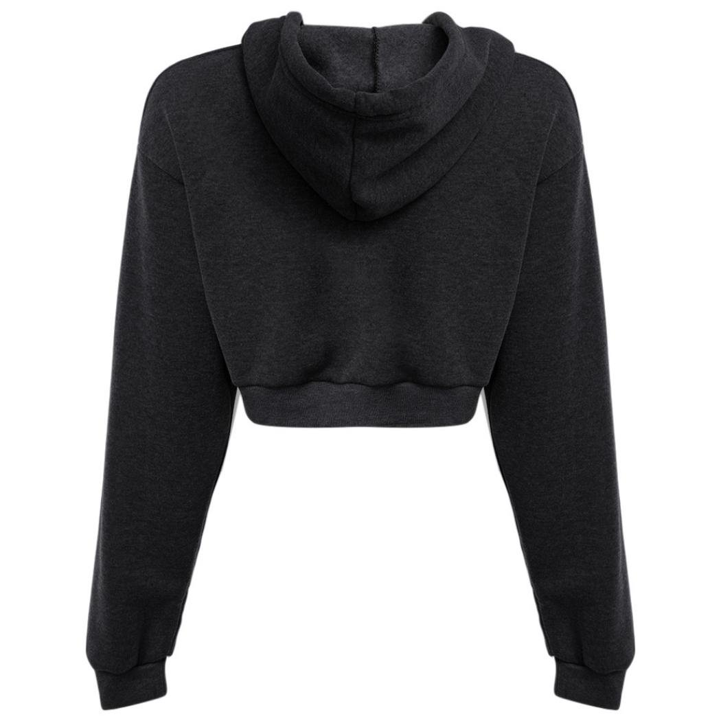b42db58ef76ea6 Amazon.com  Women Teen Girls Long Sleeve Hoodies Crop Top Sweatshirt Sports  Pullover Tops  Sports   Outdoors