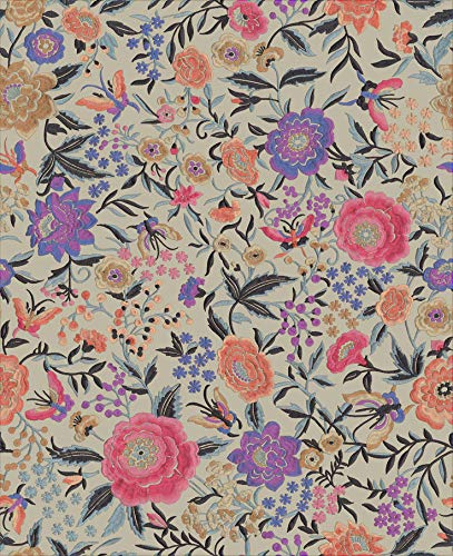 York Wallcoverings MI10015 Oriental Garden 54 3/5 Sq. Ft. Floral Non-Pasted Synthetic Wallpaper from The Missoni Home Collection