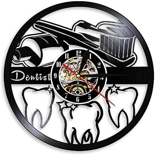XYVXJ Reloj de Pared de Vinilo Higiene Oral Cepillo de Dientes y ...