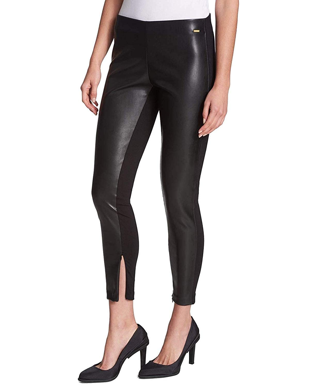 6f2fea1742097 DKNY Women's Faux-Leather-Front Skinny Leggings Black XS: Amazon.co.uk:  Clothing