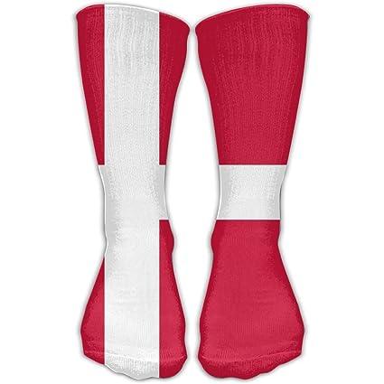 WEEDKEYCAT Calcetines altos para hombre y mujer, diseño de bandera de Dinamarca, algodón y