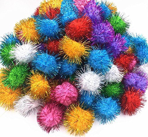 TECH-P Sparkle Ball Cat Toy, Interactive Glitter Pom Pom Cat Toy Balls for Kittens, Bulk Pack.-(1.8 Inch-45mm with Glitter Tinsel- 50 Pack)