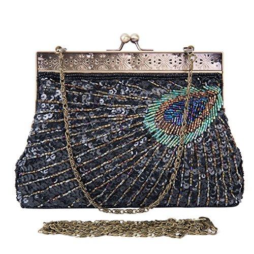 Lifewish Bolso nupcial de lujo de los cequis de lujo de las mujeres que iguala el bolso nupcial del totalizador del embrague del baile de fin de curso del bolso Negro
