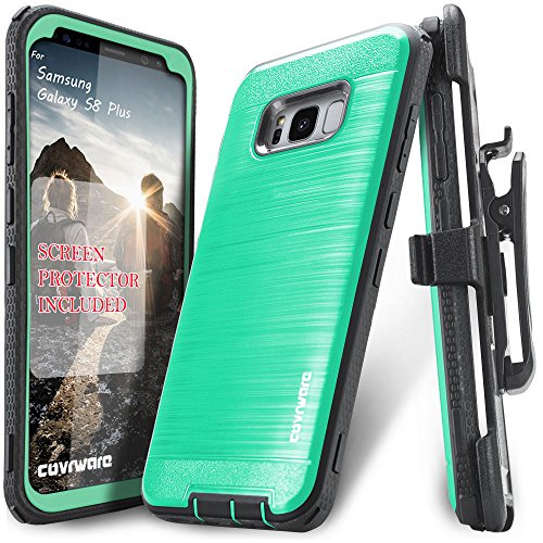 Galaxy S8 Plus Case, COVRWARE [Iron Tank] + [Screen Protector] Heavy Duty Full-Body Rugged Holster Armor [Brushed Metal Texture] Case [Belt Clip][Kickstand], Teal