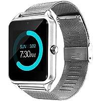 Smartiu Smartwatch Z60 Reloj Inteligente De Acero Inoxidable con Ranura Micro Sim y Micro SD,Pantalla Táctil,Reproductor MP3,Recibe Notificaciones De Redes Sociales,Compatible con Android.