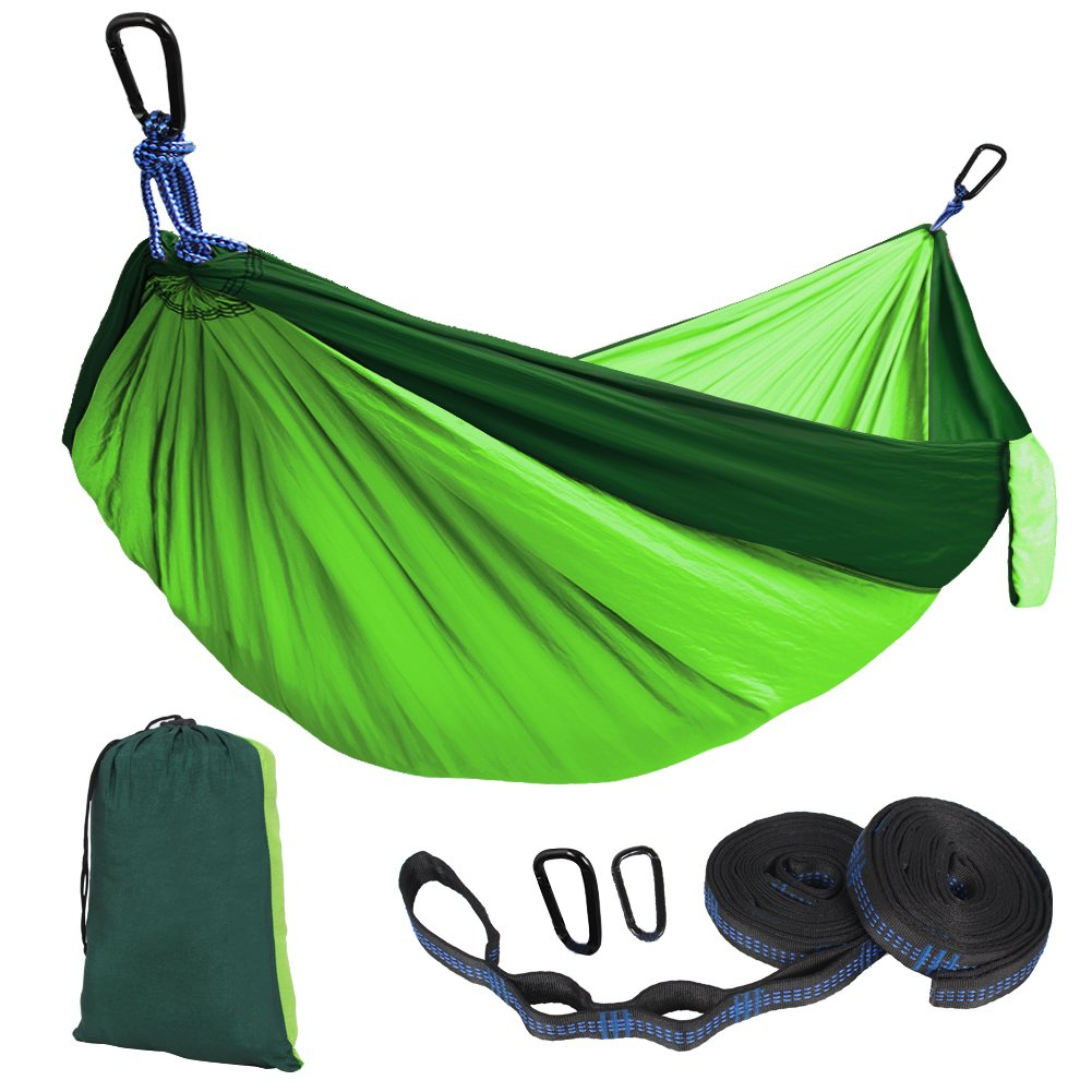 Kootek Double Camping Hammock Portable Indoor Outdoor Tree Hammock with 2 Adjustable Hanging Straps, Lightweight Nylon Parachute Hammocks for Backpacking, Travel, Beach, Backyard, Hiking Hiking … SP511