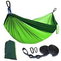 Kootek Double Camping Hammock Portable Indoor Outdoor Tree Hammock with 2 Adjustable Hanging Straps, Lightweight Nylon Parachute Hammocks for Backpacking, Travel, Beach, Backyard, Hiking