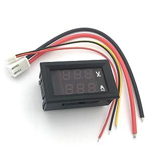 """McIgIcM 0.28"""" Digital Voltmeter, Red and Blue Digital Voltmeter Ammeter Dual Display Voltage DC 0-100V 10A Detector Current Meter Panel Amp Volt Gauge"""