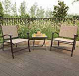 PHI VILLA 3-Piece Oversize Outdoor Sling Conversation Set- Patio Folding Coffee Set