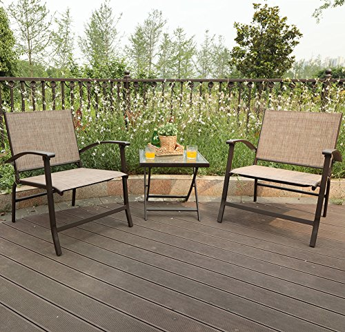 PHI VILLA 3-Piece Oversize Outdoor Sling Conversation Set- Patio Folding Coffee Set ()