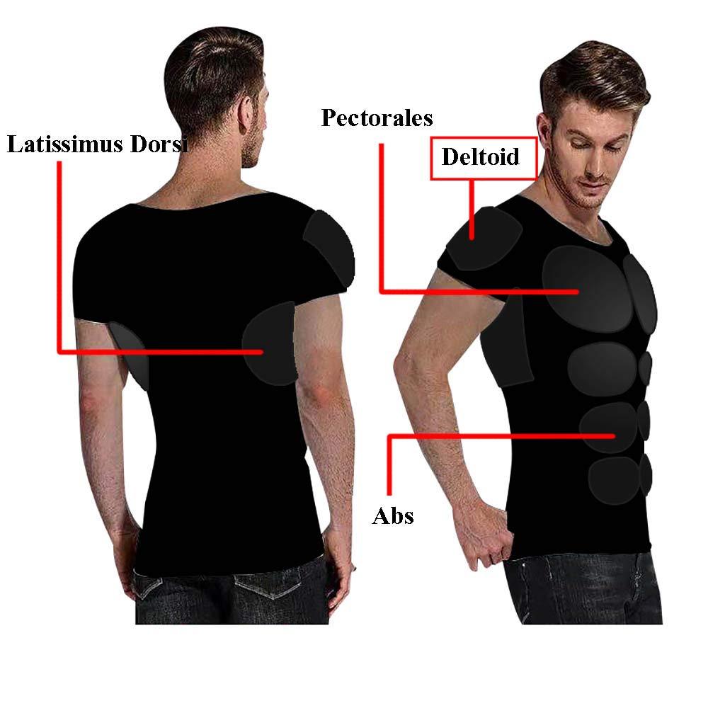 Hommes 12 Pads T-Shirt Musculaire Simulation Muscle Abdominal de la Poitrine Collier Bas Sweat Shirt pour la f/ête