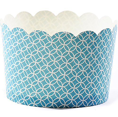Blue Jumbo Cup (Simply Baked Jumbo Paper Baking Cup, Turquoise Medallion, 20-Pack, Disposable and Oven-safe)